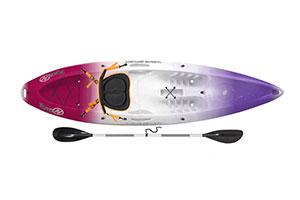 kayak para una persona de color lila, blanco y granate con una pala de color negro
